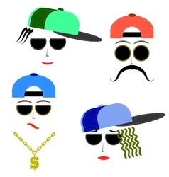 Hip Hop Boys Faces vector
