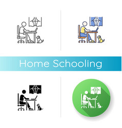 Home schooling icon vector