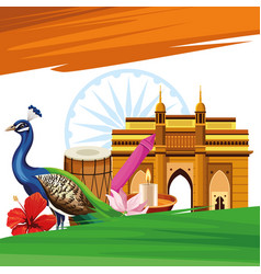 India travel and tourism card vector