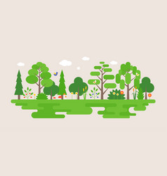 Info graphic and elements of natural forest vector