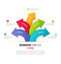 Infographics with 5 option branching circular vector