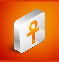 Isometric cross ankh icon isolated on orange vector