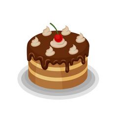 Isometric icon big tasty cake vector