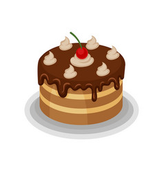 Isometric icon of big tasty cake with vector