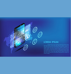 isometric smart phone or tablet 3d interface vector image