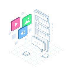 Isometric social media bot messenger chat bot vector