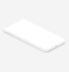 isometric white smartphone 3d realistic vector image