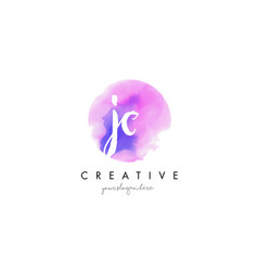 Jc watercolor letter logo design with purple vector