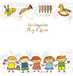 Kindergarten Kids and Playground Frame vector image