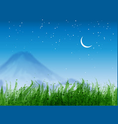 landscape with green grass distant mountains and vector image