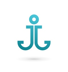 Letter j anchor logo icon design template elements vector