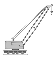 Lifting crane icon gray monochrome style vector