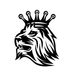 lion head with crown monochrome vector image
