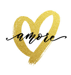 Love valentine heart gold card amore text vector