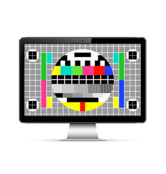 Modern computer display with test screen vector