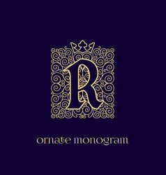 Monogram with crown r vector