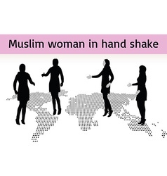 Muslim woman silhouette in hand shake pose vector image