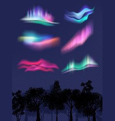 northern lights realistic glowing effects in sky vector image
