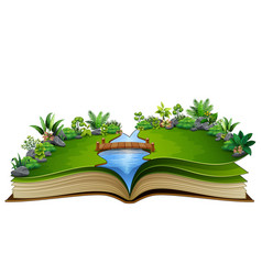 Open book with river and green plant of nature bac vector