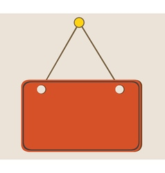 painted orange blank sign hanging on a rope vector image
