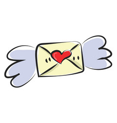 Painting a letter or envelope with wings and vector