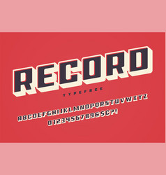 Record display font design alphabet typeface vector