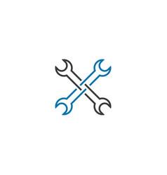 Repair spanner tool maintenance logo design vector