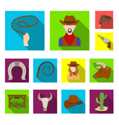 rodeo competition flat icons in set collection vector image