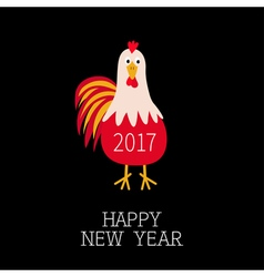 Rooster Cock bird 2017 Happy New Year symbol vector image