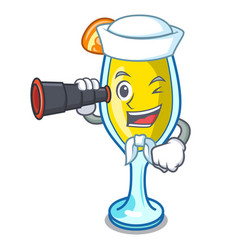 Sailor with binocular mimosa mascot cartoon style vector