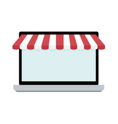 screen of laptop with awning vector image