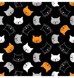 Seamless of cat faces vector