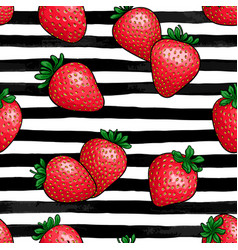 seamless pattern red strawberry with leaf on vector image