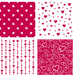 seamless patterns with hearts valentines wedding vector image