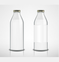 set glass bottles with milk isolated milk vector image