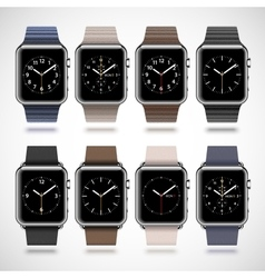 Set of 8 modern shiny smart watches vector image