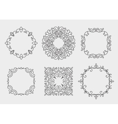 Set of monogram frames circles vintage vector