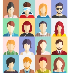 set people faces avatars icons vector image