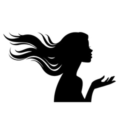 Silhouette of beautiful girl in profile with long vector image