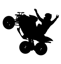 Silhouette of the motorcyclist on a quad bike on vector