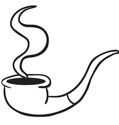 Simple black and white smoking pipe vector