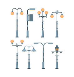 street lights set traditionally and retro city vector image