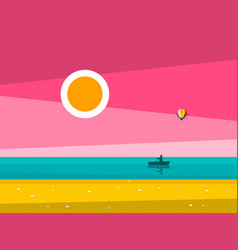 Sunset ocean landscape sunrise sea with man on vector