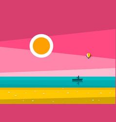 Sunset ocean landscape sunrise sea with man on vector