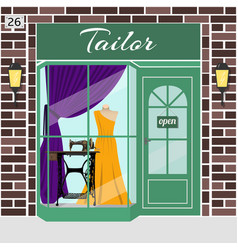 Tailor shop building vector