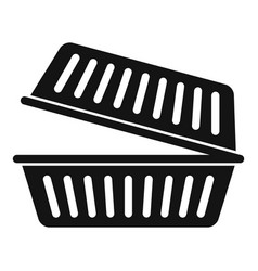Takeout food container icon simple style vector