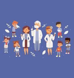 team pediatrician doctors with ill children vector image