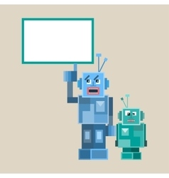 too Robotes and characters vector image