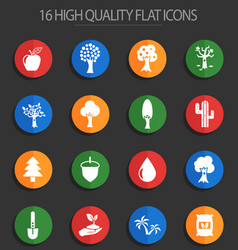Trees 16 flat icons vector