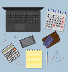 View of office desk background including laptop vector